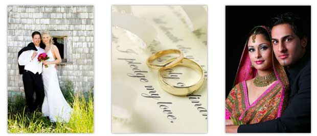 happy couples and wedding rings